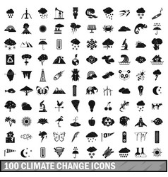 100 climate change icons set simple style vector