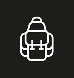 Backpack icon on black background vector