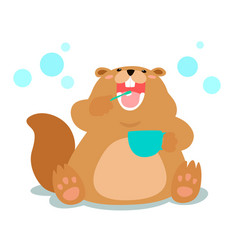 Happy fluffy beaver love brushing teeth cartoon vector