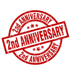 2nd anniversary round red grunge stamp vector image