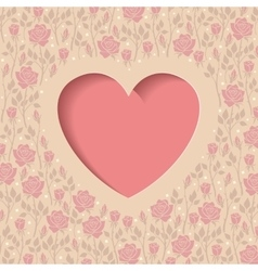 Heart and roses vector