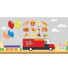 Red wagon fast food with baloons vector image