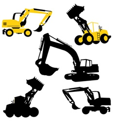 Bulldozers construction vector