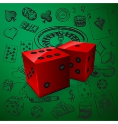 Hand drawn casino icons set with dice game vector