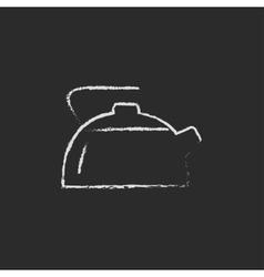 Kettle icon drawn in chalk vector