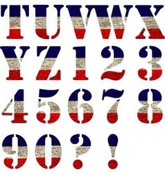 Flag of United States Alphabet vector image