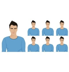 Handsome young guy with different facial emotions vector image