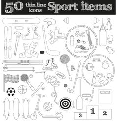 Set of 50 thin line sport icons vector