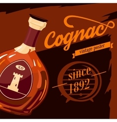 Glassware bottle of cognac vintage poster vector