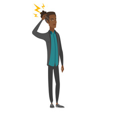 African businessman with lightning over head vector