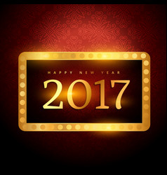 Beautiful luxury 2017 golden text and frame vector