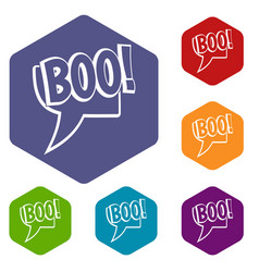 Boo comic text speech bubble icons set hexagon vector