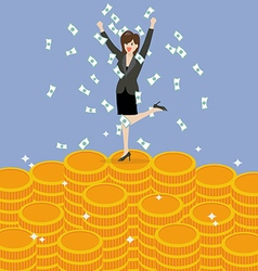 Business woman celebrating on Money vector image vector image