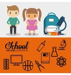 cartoon pupils school bag pencil utensils banner vector image
