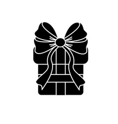 Contour gift present with ribbon decoration to vector
