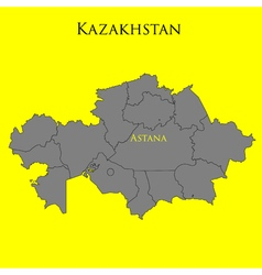 Contour map of Kazakhstan on a yellow vector image