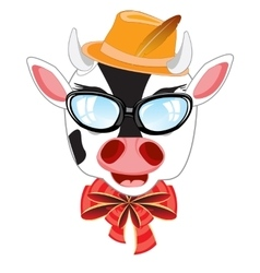 Cow bespectacled and hat vector