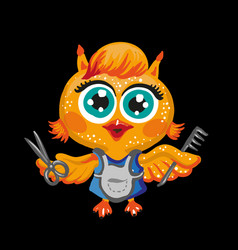 Cute owl cartoon character hairdresser vector