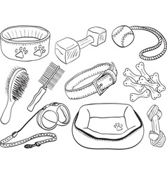 Dog accessories - pet equipment hand-drawn vector image vector image