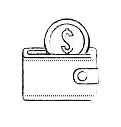 Figure wallet with coin money inside vector