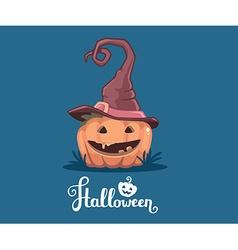Halloween of decorative orange pumpkin in wi vector