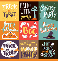 Halloween party celebration invitation cards vector