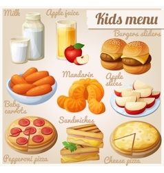 Kids menu set of cartoon food icons vector