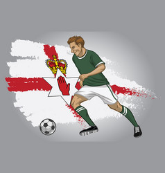 northern ireland soccer player with flag vector image vector image