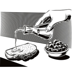 Olives in a bowl and female hand vector