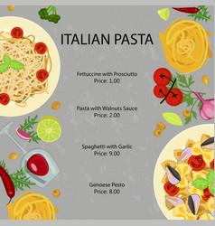 pasta restaurant menu vector image