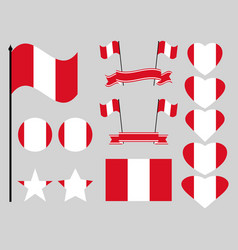 peru flag set symbols flag in heart vector image