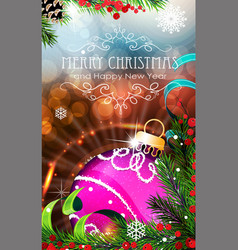 Purple christmas bauble with sparkles and fir vector