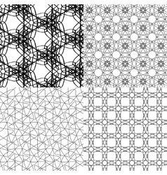 Set of geometric pattern in op art design art vector image