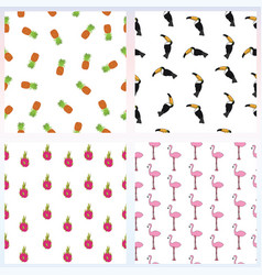 set of simple seamless pattern with exotic vector image