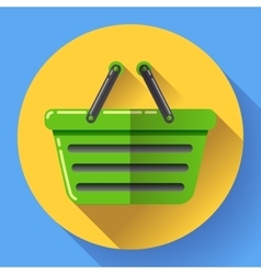 shopping basket icon Flat design style vector image vector image