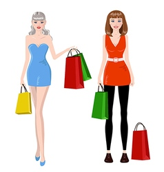 Shopping girls vector image