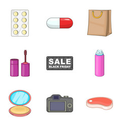 Shopping product icons set cartoon style vector