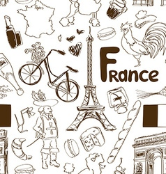 Sketch france seamless pattern vector