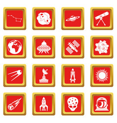 Space icons set red vector