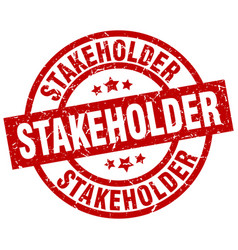 Stakeholder round red grunge stamp vector
