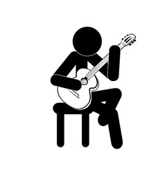 stick figure man playing classic guitar vector image vector image