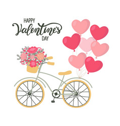 valentines day background bicycle with heart vector image