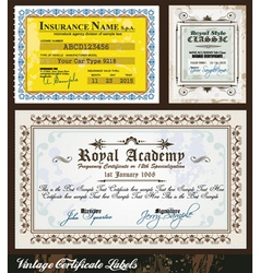 Vintage certificates vector