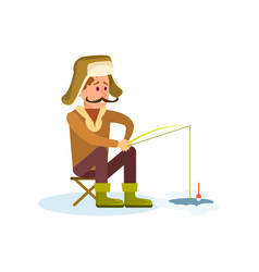 Winter fishing icon with fisherman vector