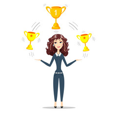 Woman holding gold trophy goblet vector