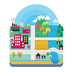 City and nature landscape layer flat style vector