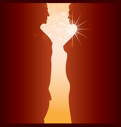 Man woman and sunrise vector