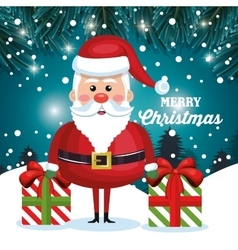 merry christmas card santa and gift with snow vector image