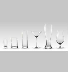 Empty realistic glasses set vector