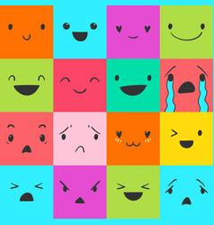 Emoticons square doodle 2 vector